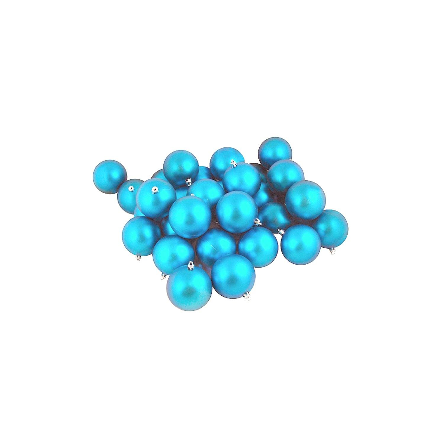 Northlight 32 Count Shatterproof Matte Turquoise Blue Christmas Ball Ornaments, 3.25''