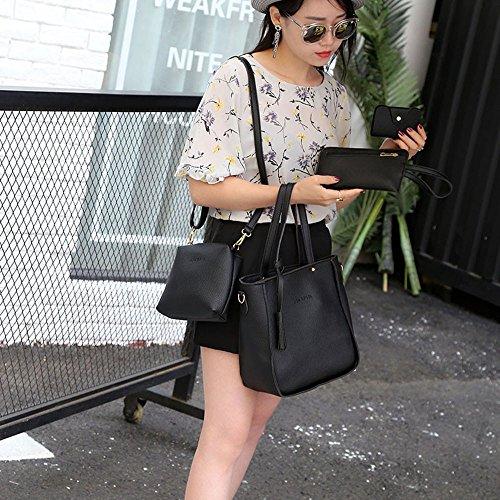 Tote Set 4PC Bag Casual Fashion Bags Bag Black Satchel Purse Rcool Girls Handbag Women Messenger Shoulder Bag Shoulder Women xT1tPP