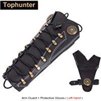 Tophunter Archery Armguard,Handmade Leather Forearm Protector Bracers,Adjustable Arm Guard Protective Gloves for Left Hand with Laces Wristband,Bow Gear Accessories for Hunting Recurve Traditional Bow