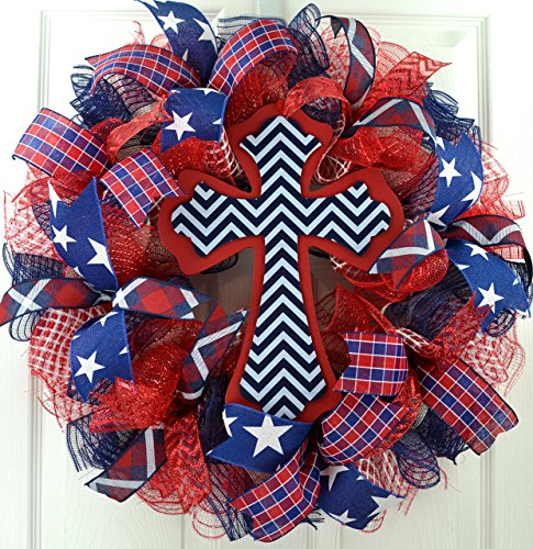 Navy Cross Ribbon - Fourth of July Wreath | Chevron Cross | 4th of July Mesh Door Wreath | Navy Blue Red White