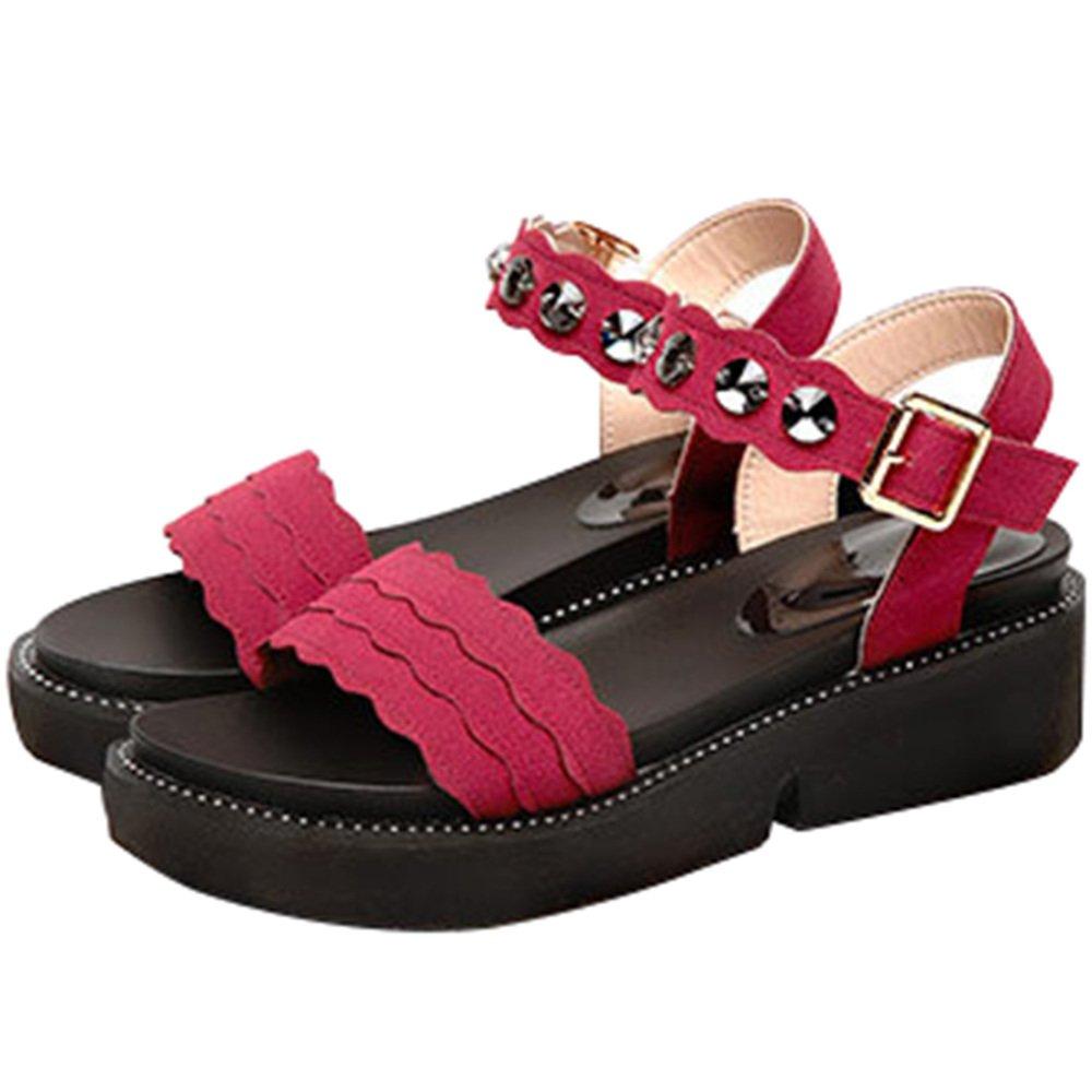 Haute Qualité Femmes Sandales Plate-Forme Jour Compensés Chaussures Décontractées 13875 Talons Compensés Slip Toe TresséÉtudiant Sandales Plat Grande Taille Chaussures Version Mise à Jour Red 3e6d3ce - robotanarchy.space