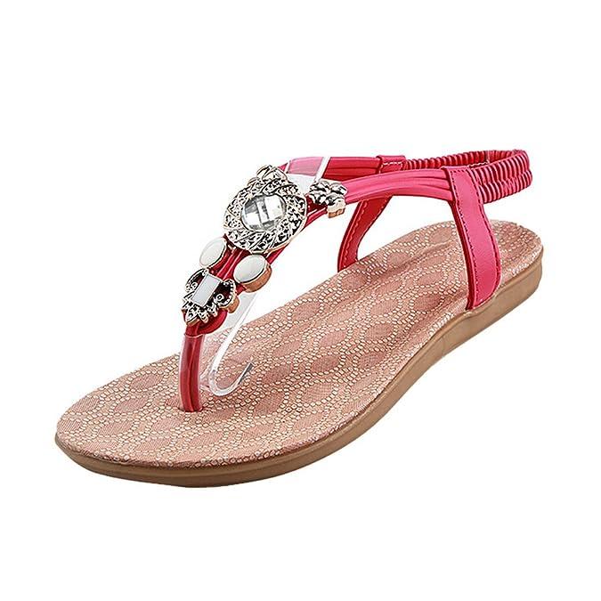 Vertvie Damen Sommer Schuhe Strandschuhe Offene T-Spangen Sandalen Knöchelriemchen Sandalen mit Strass Zehentrenner Flip Flop Hausschuhe (37, Weiß)