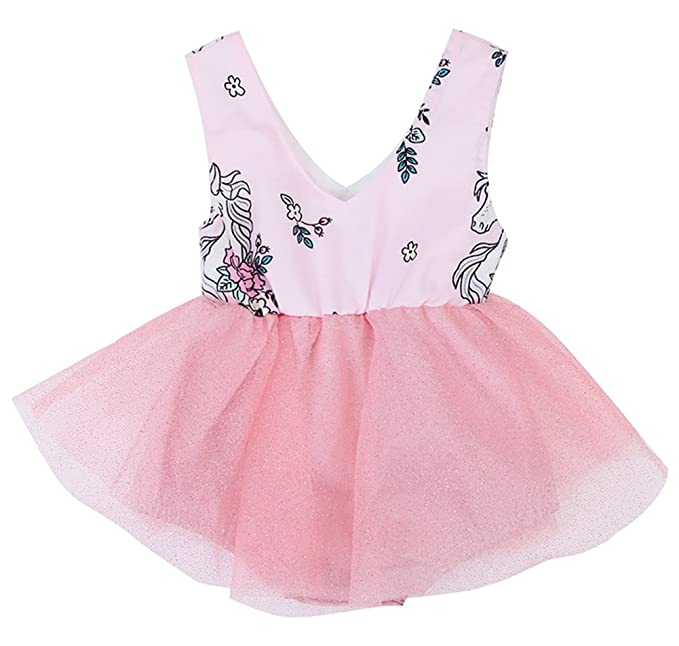fb240bb76113 Image Unavailable. Image not available for. Color  stylesilove Newborn Baby Girl  Unicorn Print Sleeveless Romper Tutu Dress ...