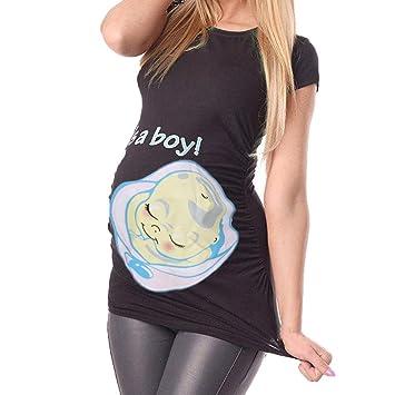 HOSOME Maternity Shirts Round Neck Bell-Sleeve Maternity Tunic Tops Maternity Shirts for Women