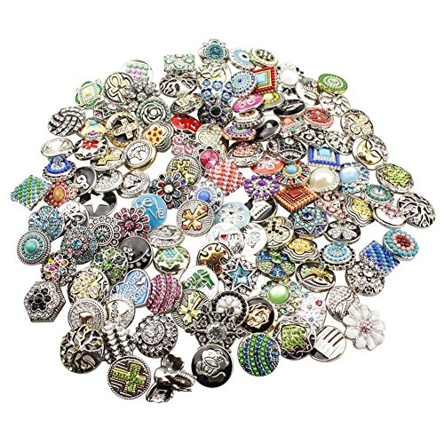 Soleebee HJ011 Mixed Random 18-20mm Alloy Rhinestones Snap Buttons Jewelry Charms (Pack of 30) ()