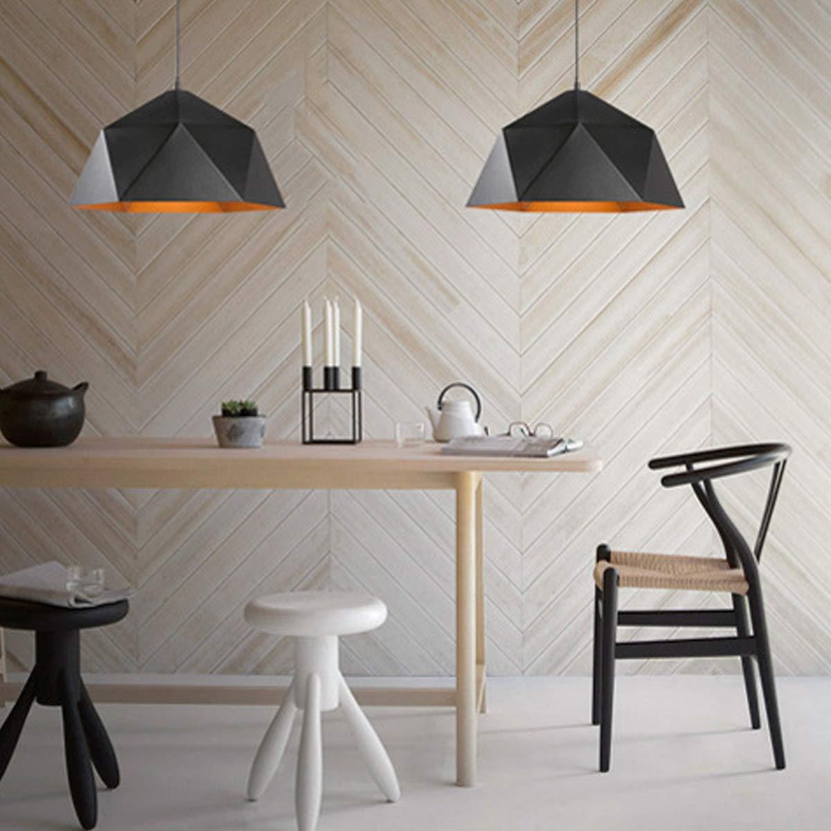 NANGE Wrought Iron Diamond Pendant Lamp, Industrial Wind Ancient Ways Geometry Pot Droplight,Cafe Restaurant Chandelier,E27(Without Light Source) (Color : Black, Size : AC 110V) by NANGE (Image #8)