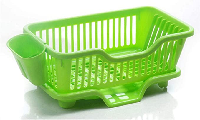 MOHAK Plastic Kitchen Sink Dish Drainer Drying Rack Washing Basket with Removable Tray Dish Racks