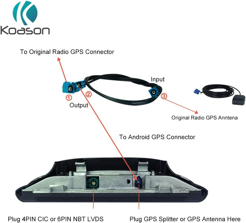 Koason Car GPS Antenna Splitter Cable for BMW Benz Audi Android Screen Display Car Audio Video