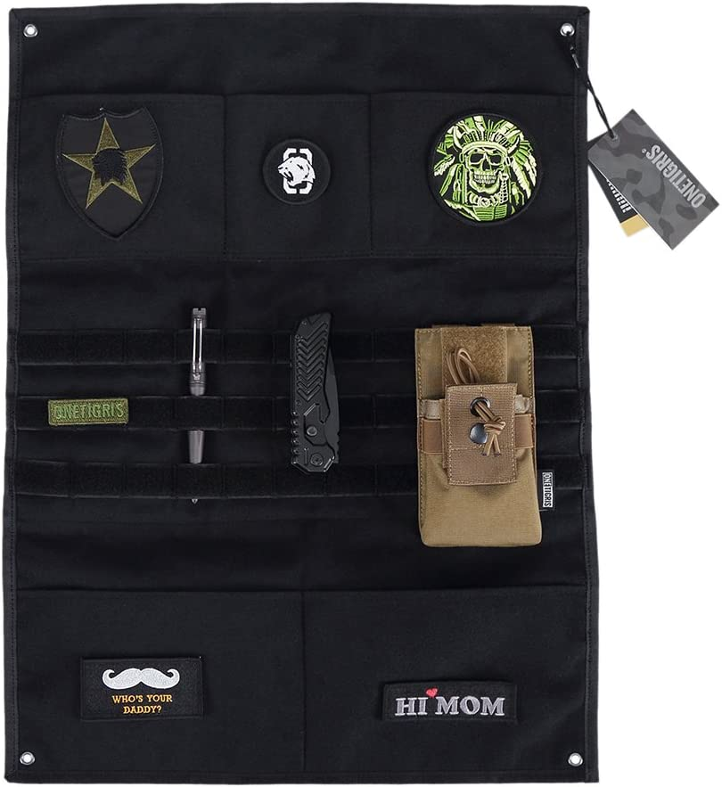 Black - with MOLLE Webbing /& Pockets OneTigris Tactical Military Patch Holder Board Hook /& Loop Patch Panel