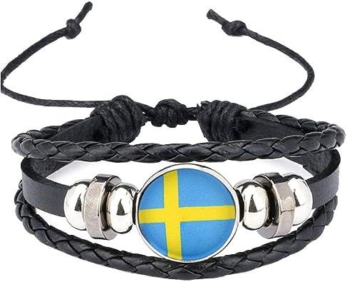 2018 Bandera Nacional De Suecia Encanto De La Pulsera De Los Brazaletes De Cuero Trenzado De Fútbol Banderas Muñequera Equipo Venda De La Pulsera De La Mano: Amazon.es: Joyería