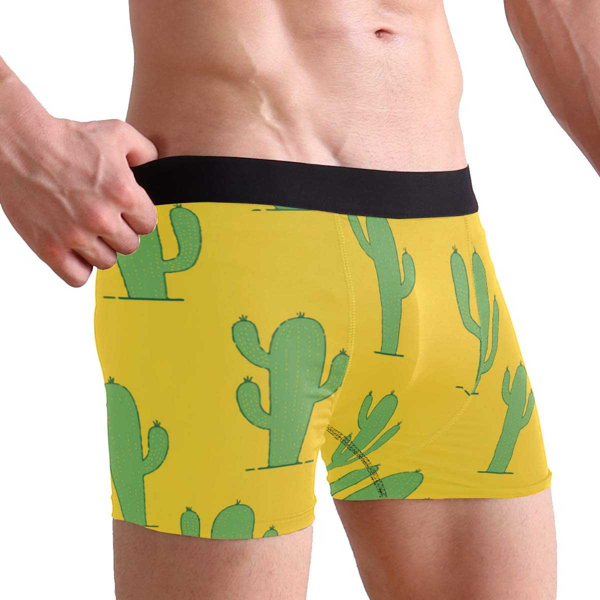 Charlley Lee Mens Soft Breathable Yellow Tropical Cactus Underwear Boxer Briefs