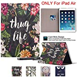 iPad Air Case, Newshine(TM) Slim-Fit PU Leather Book Style Smart Stand Protective Skin Case Cover with [Auto Wake/Sleep Smart Feature] for ( 2013 Release) Apple iPad Air /iPad 5 9.7'' (Thug Life)