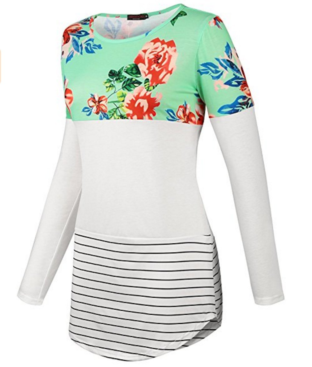 Women Plus Size Blouse Ankola Womens Flowers Printing Back Lace Color Block Tunic Tops Long Sleeve T-Shirts Blouses with Striped Hem (S, Green)