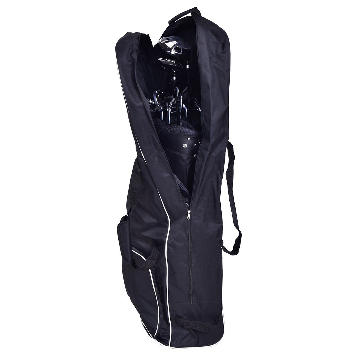 Apontus Black Foldable Golf Bag Travel Cover with Wheel