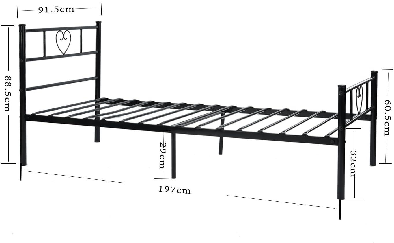 190 cm Mattress Black setsail Metal Single Bed Frame Solid 3ft Metal Beds Heart-Shaped Bedstead Fits for 90