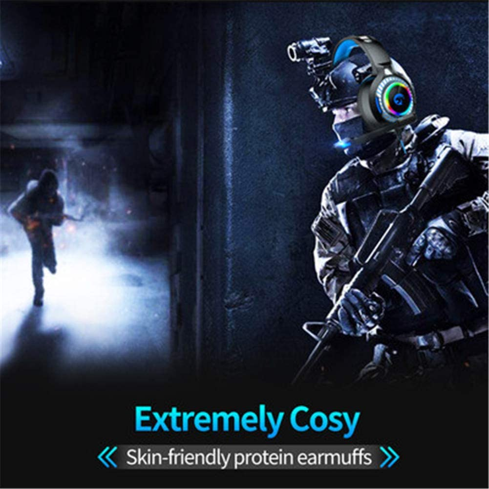 50mm Driver Comfy Earmuffs,Suitable for Family Games Computer Wired Headset,USB Wired Gaming Headset Surround Sound for Game