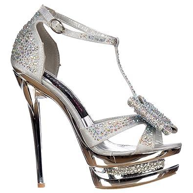 7d49cb44a11 Onlineshoe Silver Diamante Crystal Jewelled Bow High Heel - Diamante  Stiletto Heel - Silver UK 7