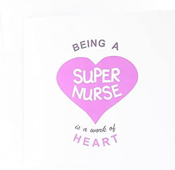 3dRose Greeting Cards, 6 x 6 Inches, Pack of 6, Being a Super Nurse Is a Work of Heart Quote (gc_183878_1)
