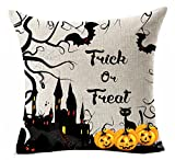 """Cotton Linen Square Decorative Throw Pillow Case Personalized Cushion Cover Halloween Castle Haunted House Bat Scary Pumpkin Trick or Treat Halloween Gifts 18 """"X18 """""""
