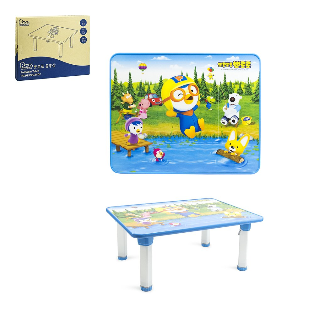 Pororo Kids Activity Table with Folding Legs (Blue) edison DW