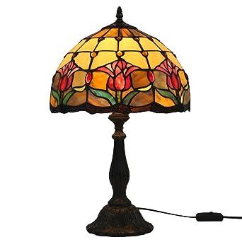 Fabakira Fleur Vitrail Tiffany De Antiques Rose Table Lampe Rouge hCxBstdQr