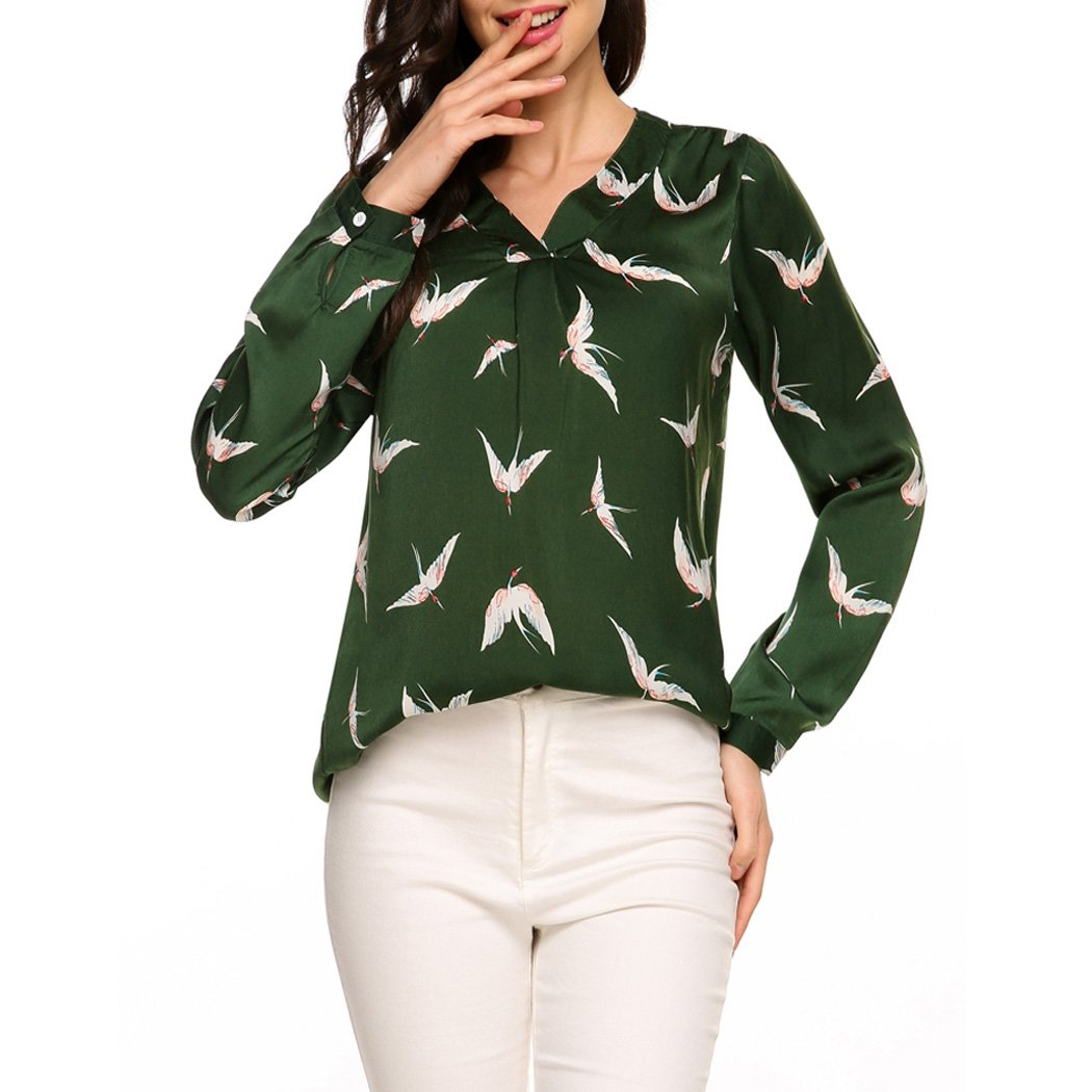 0f75e77f3e5c0 Hount Women s Print V Neck Long Sleeve Chiffon Blouse High Low Hem Loose Tops  Shirt (L