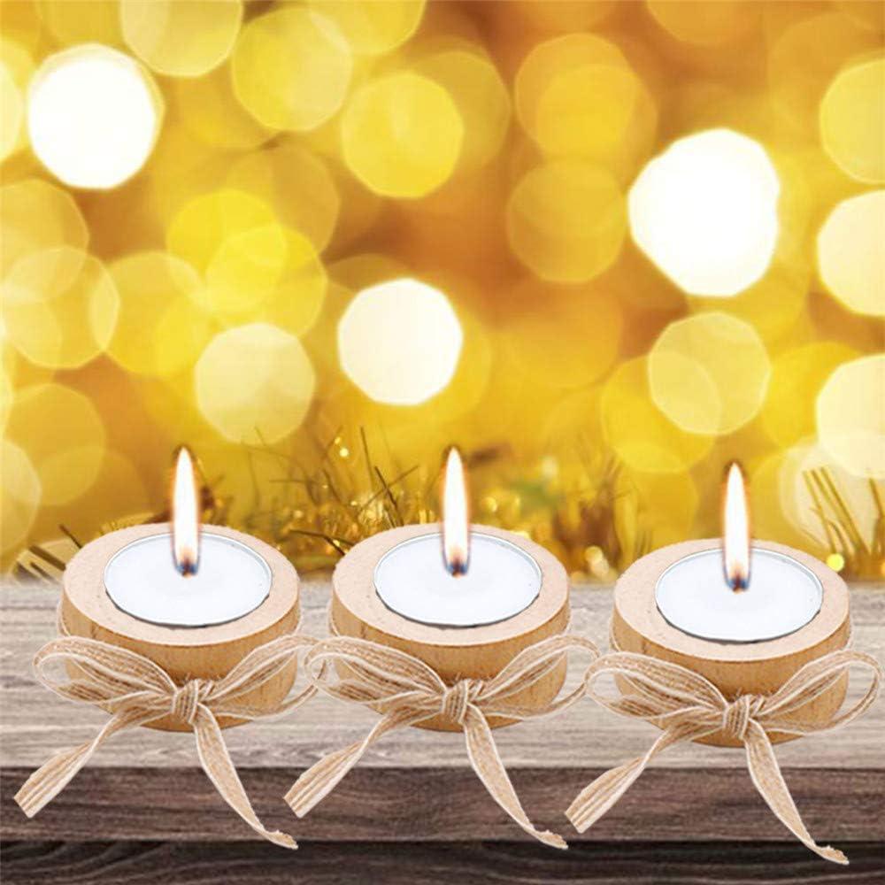 2,4x1 pollici VOANZO Candeliere in legno di corteccia 10 pezzi Artigianato in legno creativo Decorazione Portavasi per fiori Supporto per candele con corda