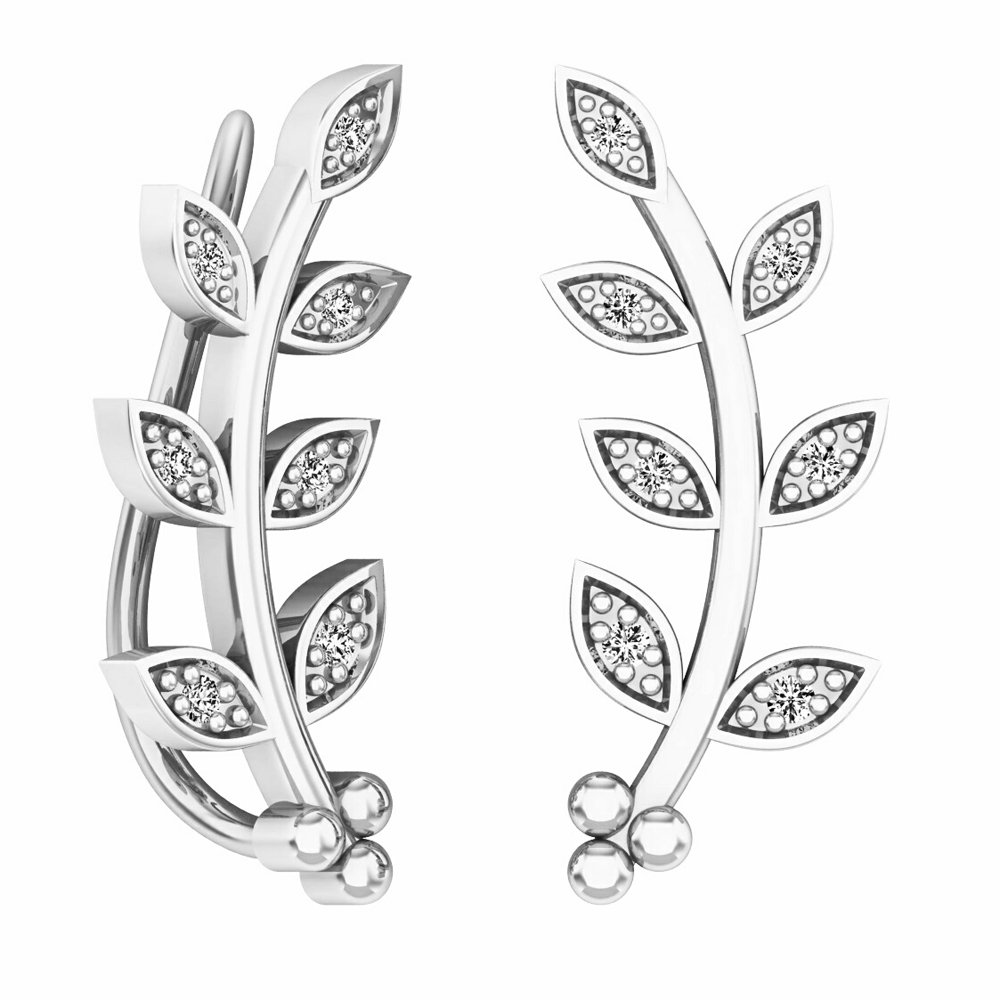 Dazzlingrock Collection 0.10 Carat (ctw) Round Cut White Diamond Ladies leaf shaped Climber Earrings, Sterling Silver