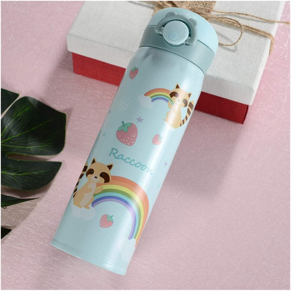 N/A Fgyii Botella De Agua 500Ml Capacidad De Agua Potable Coreano Lindo Oso Termo De Acero Inoxidable Hervidor De Regalo Infantil Cocina A