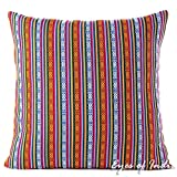 "Eyes of India - 24"" Red Blue Large Striped Dhurrie Decorative Pillow Cushion Cover Throw Sofa Couch Colorful Boho Chic Seating Bohemian Accent Indian Handmade Cover ONLY"