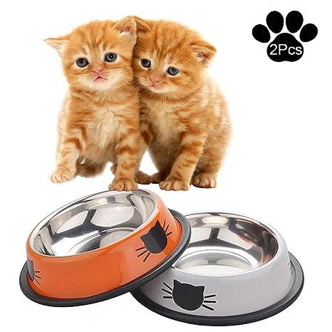 XDODD Comida Gato, 2 Unidades, Acero Inoxidable Antideslizante Gatos napf | Juego de Comida