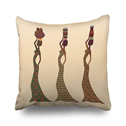 Throw Pillow Covers African Women Dressed Various Traditional People Africa  Carry Art Square Size 18 x 7199926b6