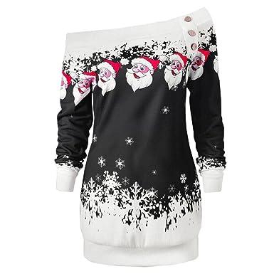 8e49de1fbdc Jimmkey Ladies Off Shoulder Sweatshirt Merry Christmas Santa Snowflake  Print Tops Cosy Oversize Long Sleeve Long Blouse Womens Party Shirt Buttom  Decor ...