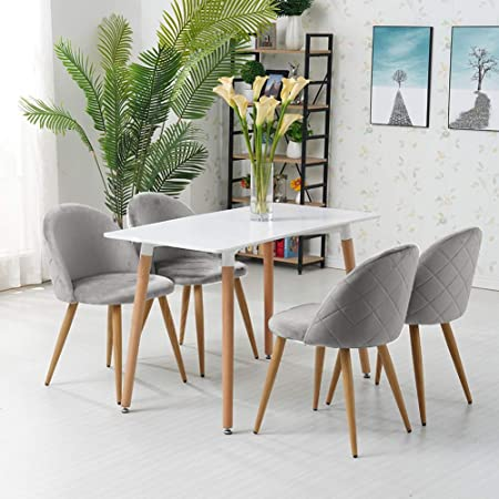 Ofcasa Set Of 4 Grey Velvet Dining Chairs Upholstered Kitchen Chair With Backrest Wood Effect Metal Legs Living Room Chair For Kitchen Restaurant Lounge Amazon Co Uk Kitchen Home
