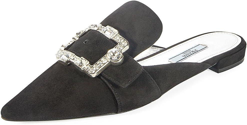 Prada Embellished Suede 10mm Mule Shoes