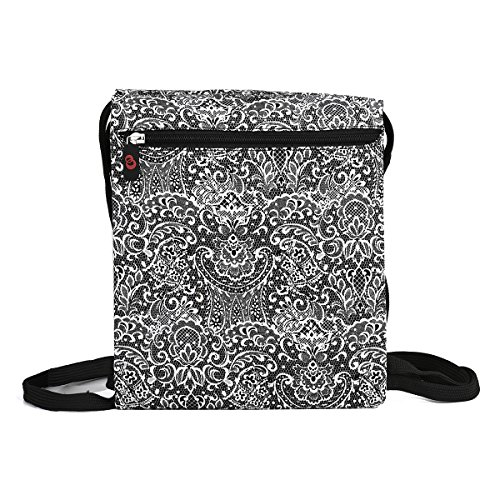 NuVur153; Universal Women's 10 inch Lace Print Backpack Bag Fits Plum Ten 3G, Polaroid S9, RCA 10 Viking Pro 2-in-1|Black