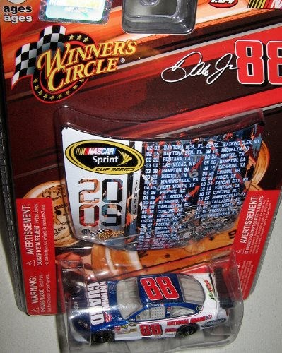 (Dale Earnhardt Jr #88 Amp National Guard Blue White Die-cast Car 1/64 Scale Winner's Circle with Mini Hood Magnet 2009 Sprint Cup)