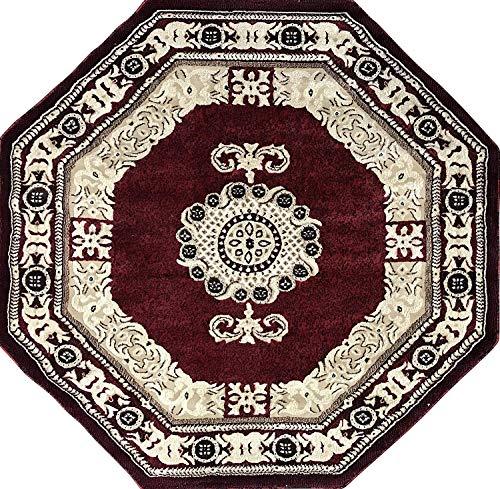 (Americana Traditional Octagon Persian Area Rug Red Black Beige Carpet King Design 121 (5 Feet 3 Inch X 5 Feet 3 Inch))