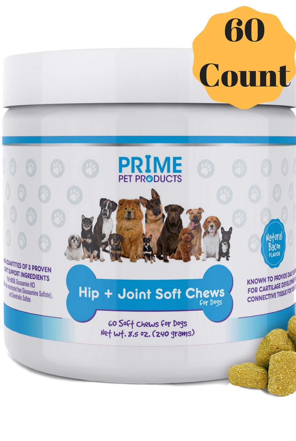 Glucosamine Chondroitin for Dogs - Advanced Hip and Joint Supplement (60 Count) Dog Soft Chews - MSM and Organic Turmeric - Supports Healthy Joints and Arthritis - Made in USA - Bacon Flavor Vitamins