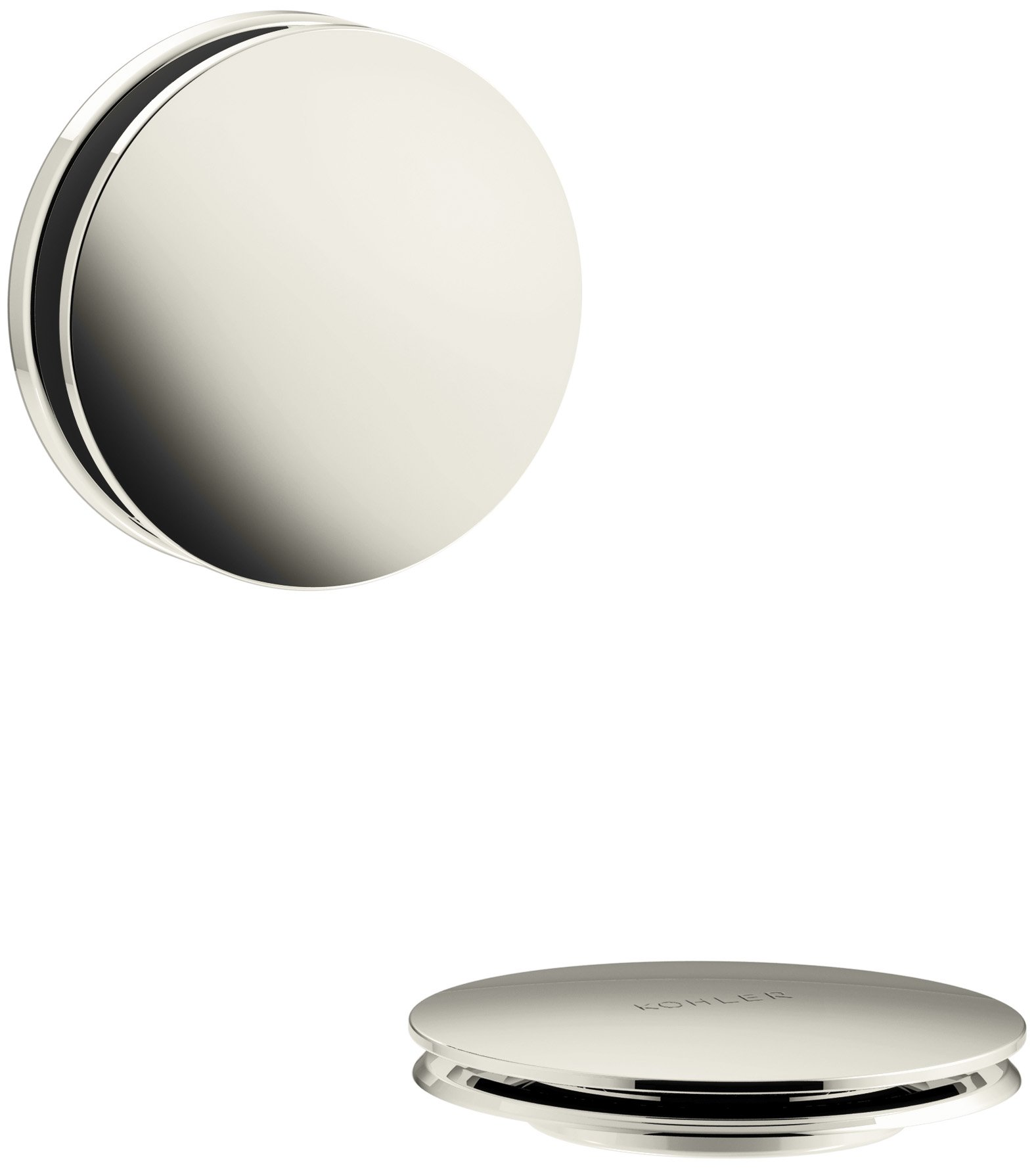 KOHLER K-T37395-SN PureFlo Cable Bath Drain Trim with Contemporary Push Button Handle, Vibrant Polished Nickel
