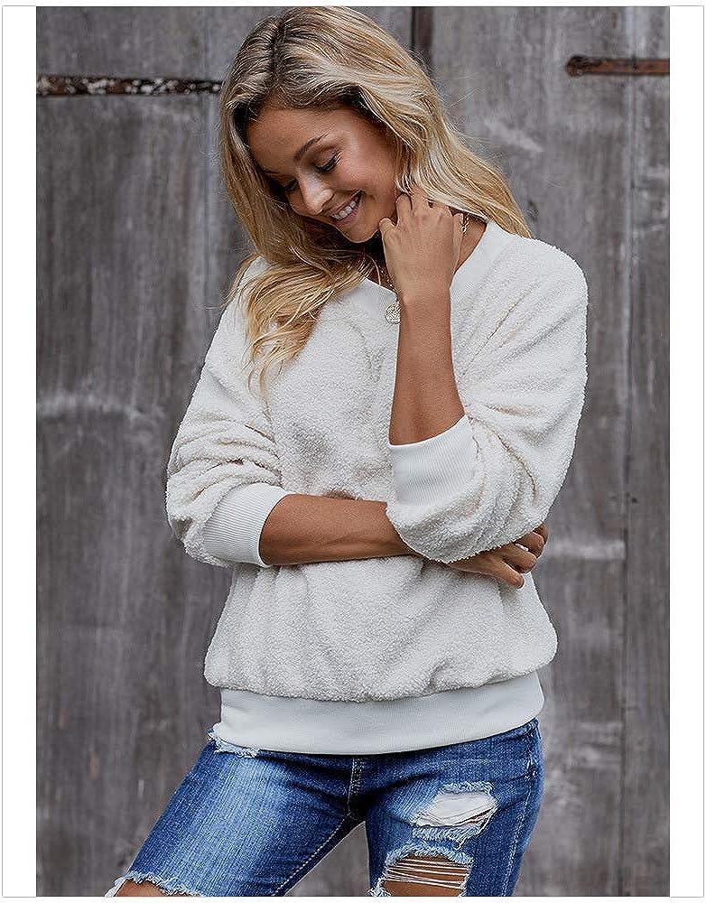 Khcr-CL Cashmere Sweatshirt Damen Rundhalsausschnitt Einfarbig Langarm Pullover Herbst Winter Lose Warm halten Sweatshirt Verdicken Pullover White