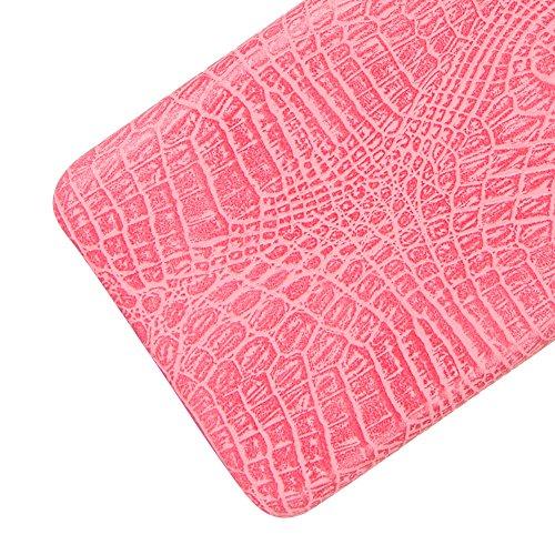 Funda Nokia 5, SunFay Funda Posterior Protector de PC Carcasa Back Cover de Parachoques Piel PU Protectora de Teléfono Para Nokia 5 - Rojo Rosa