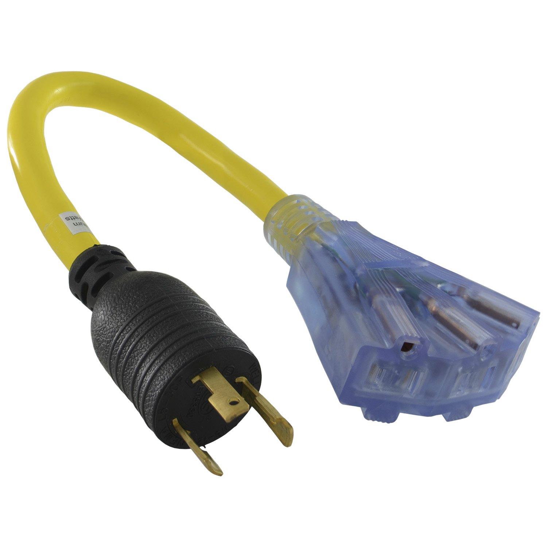 Conntek 1.5-Feet 30-Amp Tri-Outlet Cord, 30-Amp Locking L5-30P Plug to Tri-Female (5-15R)