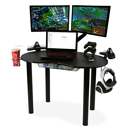 Atlantic 82050334 Space Saving Gaming Desk Carbon Fiber Texture, Black