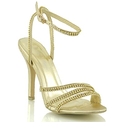 0e76d34d9c1f ESSEX GLAM Womens Diamante Strappy Heels Ladies Prom Party Wedding Bridal  Sandals Shoes 3 4 5 6 7 8  Amazon.co.uk  Shoes   Bags