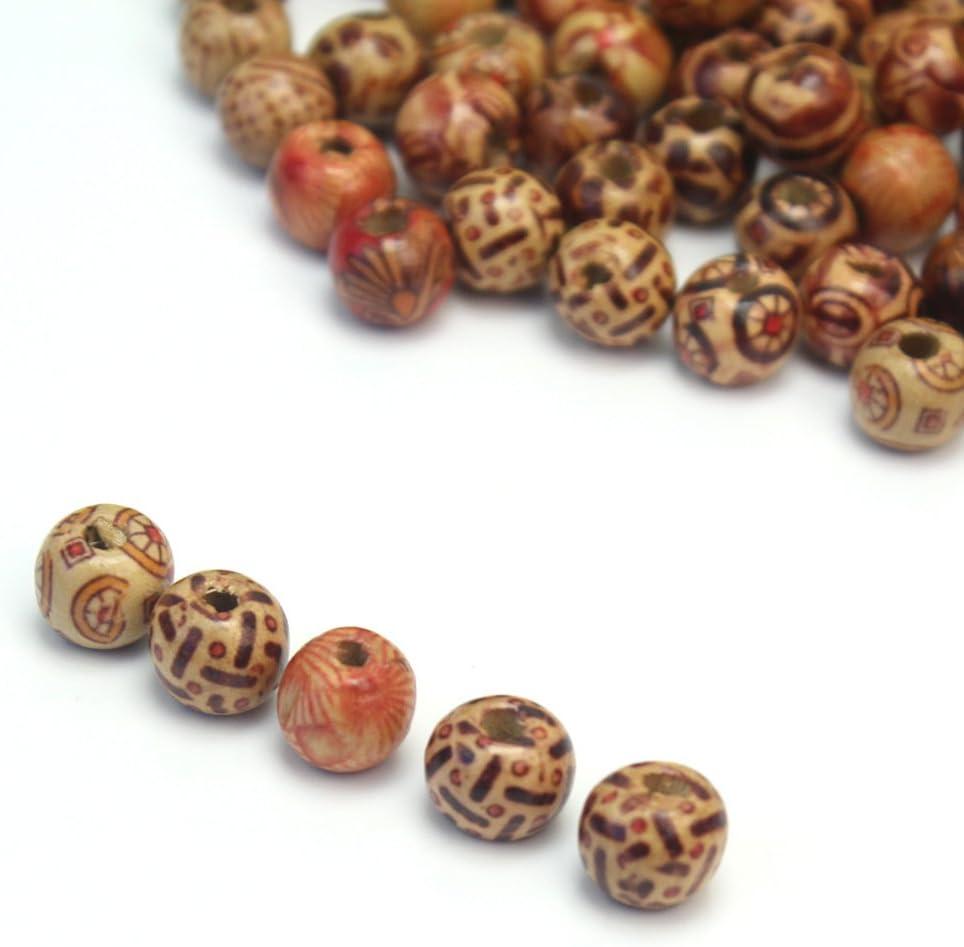100 Pcs 10mm Fashion Mixed Eye-catching Wood Round Beads for Jewelry Making DIY