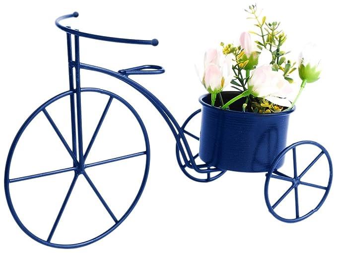 Green Girgit Blue Metal Cycle Planter (L*B*H- 9*4*6)