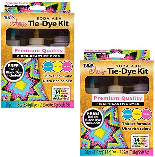 Tulip Tie Dye Kit - Artisan Soda Ash - 4 Colors, 8 Bottles Turquoise, Yellow, Fuchsia and Black - Makes 28 Fluid Ounces)