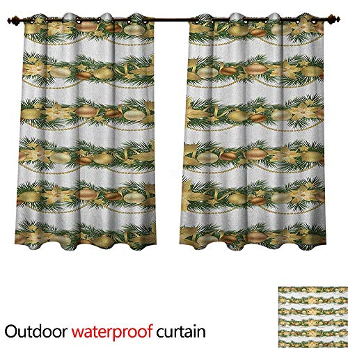 (Anshesix Christmas Home Patio Outdoor Curtain Classical Garland Design with Fir Branches Borders with Poinsettia Flowers W72 x L63(183cm x 160cm))