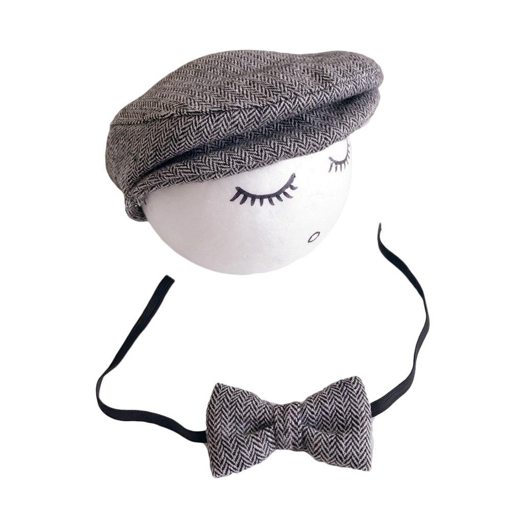 Vemonllas Casquette Cravate pour Bébé Garcon Fille Baseball Bonnet Beret  Chapeau Ensemble Photo Bébé Accessories Prop Photographie Nouveau Né  (Beige)  ... 02a43d96488